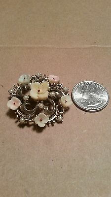 "Vintage/Estate Gold-Tone Floral and ""pearl-like"" beads pin/brooch"