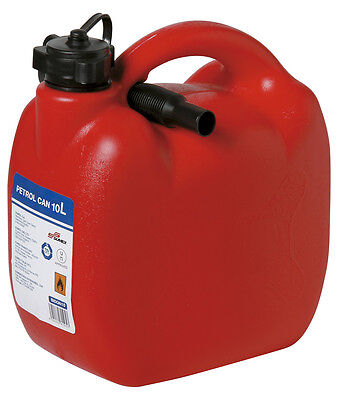 Heavy Duty Red Plastic 10 L Jerry Fuel Oil Water Petrol Can Container & Funnel
