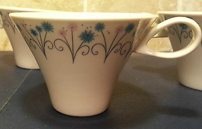 5 Vintage White Impromptu Iroquois Tea Cups with Pink and Blue Flowers
