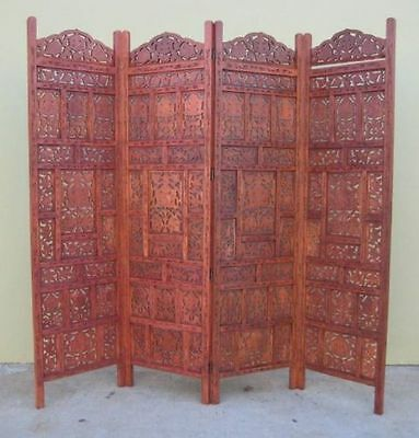 SH158 - Carved Wooden Screen Angoori Finish by Master Artisans,