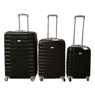 Black Luggage Set 4 Wheel Spinner Rolling 3 Piece Lightweight Hardcase Luggage