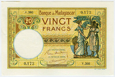 MADAGASCAR 1937-47 ISSUE 20 FRANCS SUPERB NOTE CHOICE-UNC. PICK#37.