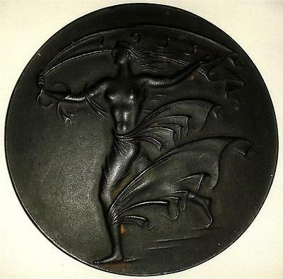 GERMANY ALLEGORY OF HOPE FEMALE NUDE PLAQUE BY ARNO BREKER 1955  iron 145mm