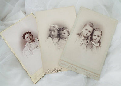 3 CABINET CARD Vintage Photo Little Girls Victorian Woman Photograph Women