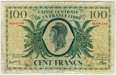 1944 FRENCH EQUATORIAL AFRICA 100 FRANCS,SCARCE NOTE CRISP CHOICE AVF.PICK#13a.