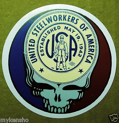 "5 United Steelworkers of America  Union  USW ""grateful dead""  Hardhat stickers"