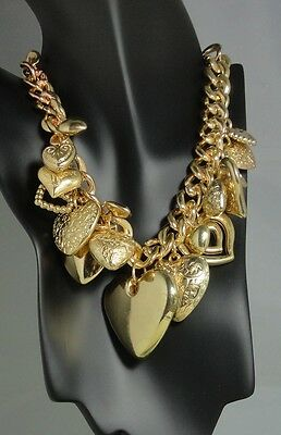 Estate/Vintage/Mod Gold Tone All Hearts GORGEOUS Necklace/Choker and Earring Set