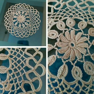 Vintage Small Tatting Beige Lace Doilie - approx. 12cm diameter