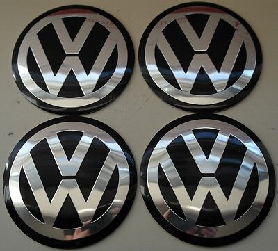 A set of 4 Wheel Center Hub 90mm Caps EMBLEM Decal fit VW Beetle Golf Black