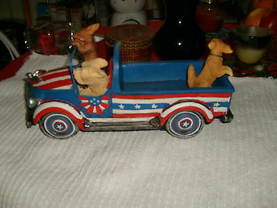 FUNNY DOGS FLYING DOWN THE ROAD IN USA COLORS WOOD TRUCK-DACHSHUND,GOLDEN,SHEEP