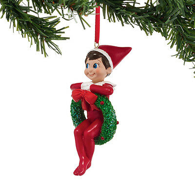 Department 56 Elf On The Shelf   Elf In A Wreath Ornament   4039732