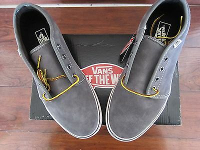 NIB Mens Vans Off The Wall Suede Vulcan Charcoal Grey Shoes Sneakers Size 11