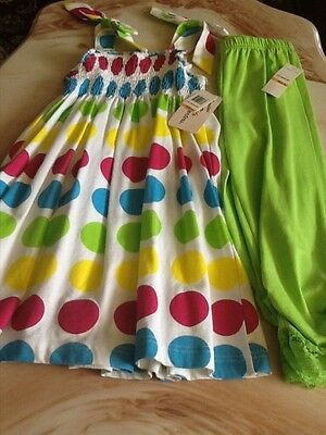 Girls Adorable Colorful 2 PC Dress Set New W Tag Size 6X, Nice for Easter.