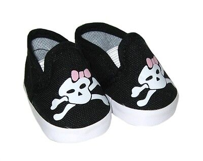 Doll Clothes Skull Crossbones Sneakers Shoes Made for 18 Inch American Girl