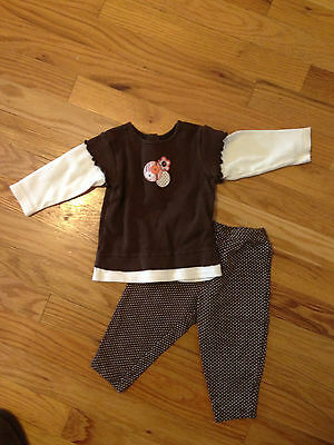 Carter's Girls 3 Piece outfit  Polka Dot size 6/9 mos. Jeans, shirt and leggings