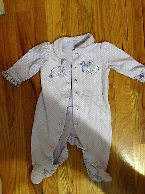 Girls Carter's Pajama's size 6 months purple polka dots Long Sleeve One Piece