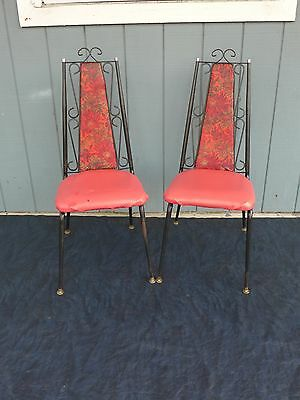 Pair of Vintage Dining Chairs Metal Scrollwork Floral Vinyl High Back Dinette