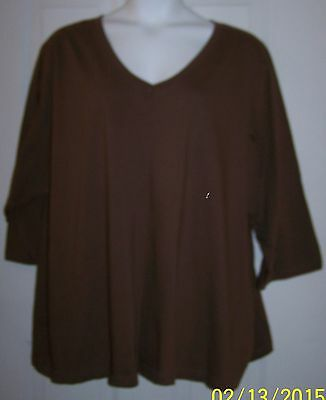 ROAMANS 100% cotton 3/4 sleeve v-neck chocolate brown knit top plus sz 5X