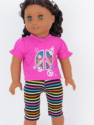 Pink Peace Top & Stripe Leggings Doll Clothes Made for 18 Inch American Girl