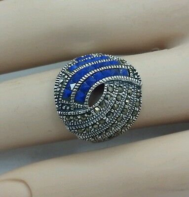 AMAZING MODERN STERLING SILVER 925 BLUE MARCASITE RING SZ 7.5 RARE FIND 6775