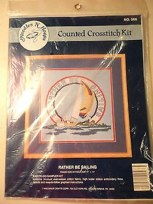 """New 11""""x 11"""" """"Rather Be Sailing"""" Counted Cross Stitch Kit by Needles & Hoops"""