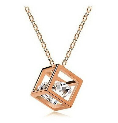 Free shipping!  Womens 9K Rose Gold Filled with AAA CZ Necklace & Pendant E-C584