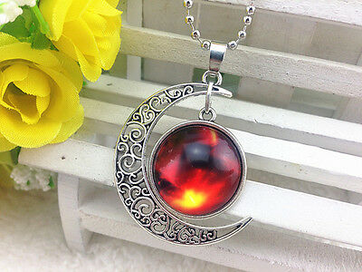 HOT Galaxy and Planet Glass Hollow Moon Shape Pendant Silver Tone Necklace #12