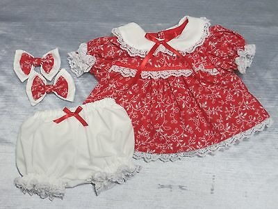 Cabbage Patch Handmade Doll Clothes 4 Pc Red Dress Set