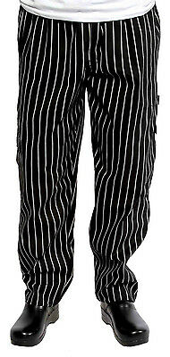 Chef Works CPGS-000 Black and White Chalkstripe J54 Cargo Pants, Medium