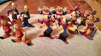 """Vintage clown set cake toppers  lot of 12 made in Macau 2"""""""