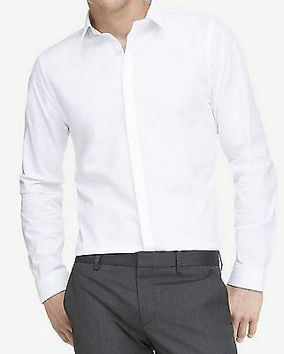 EXPRESS MENS LONG SLEEVE EXTRA SLIM FIT WHITE STRETCH COTTON DRESS SHIRT SIZE L
