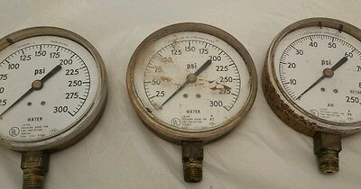 Vintage Lot Of 3 US Gauge Pressure Air Water Fire Protection PSI Gauges USA. A4