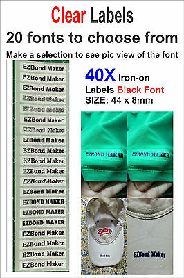 40x Clear Labels - Black Font - Iron On Name Labels Printed - Size: 44 x 8mm