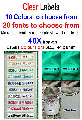 40x Clear Labels - Colour Font - Iron On Name Labels Printed - Size: 44 x 8mm