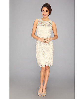 Adrianna Papell Illusion Neck Lace Overlay Dress Champagne Beige.