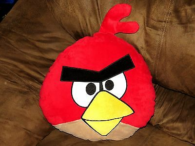 """Angry Birds Red Plush Pillow 13""""x14"""" Doll Plush Stuffed Animal EXCELLENT COND"""