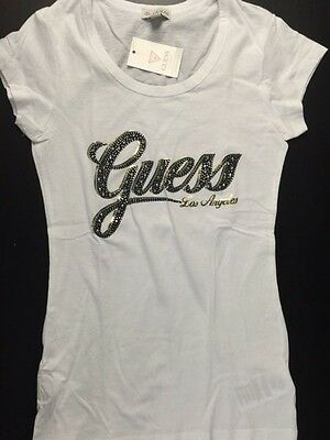 NEW NWT Womens GUESS T Shirt Embellished Abigail Tee White XS S M L XL