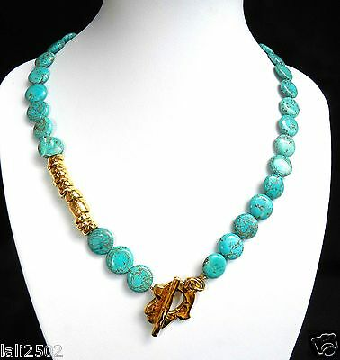 Vtg Turquoise Gemstone & Gold T Bar Necklace Decorated With Hamsa Charms