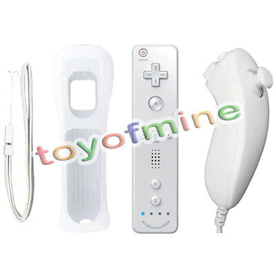 White Wiimote Built in Motion Plus Inside Remote with Nunchuck Controller Wii