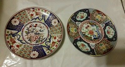 ANTIQUE IMARI PORCELAIN HAND PAINTED PLATES MADE IN JAPAN.