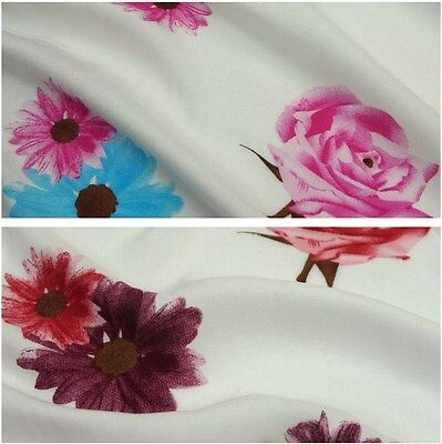 Ivory 100 % Viscose Fabric with Roses & Daisies Print - 2 Colours (Per Metre)