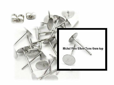 100 Earring Studs Posts NICKEL FREE 6mm Pad  & Backs  BUDGET RANGE