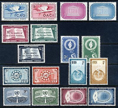 UN - New York . 1955 + 1956 Complete Year Sets (31-48) . Mint Never Hinged