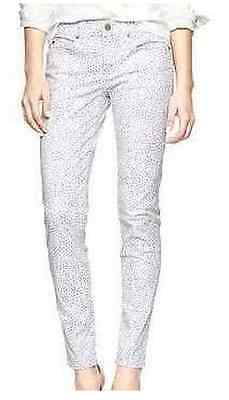 Gap white with purple dot print skinny jeans size 4