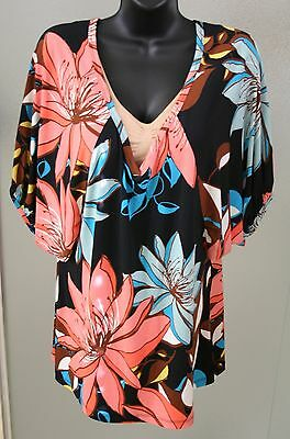 Blouse, multi-floral, Sz L, worthington stretch, 3/4 sleeves, polyester