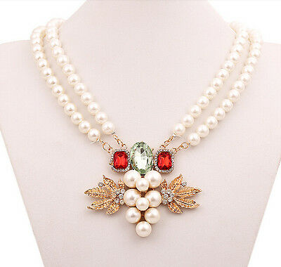 New Fashion Charm Grapes Leaves Bunk Beads Crystal Pendant Necklace Statement
