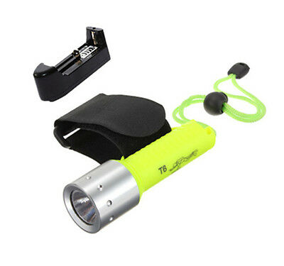 1600LM CREE XM-L T6 LED Diving Flashlight Torch Lamp Underwater 50M + Charger