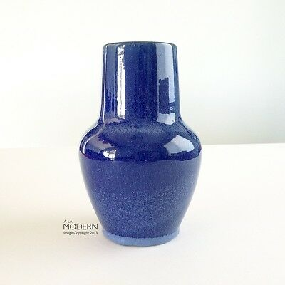 California Pottery Dark Cobalt Blue Speckled Vase Pacific GMcB Bauer