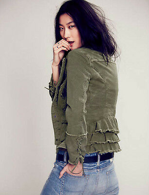 FREE PEOPLE Twill Military Ruffles Jacket M Moss Snap Front Lace Up Cuffs