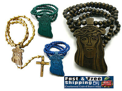 Jesus Wooden Chain Beads Christ Yeshua Messiah Long Wood Necklace Pendant
